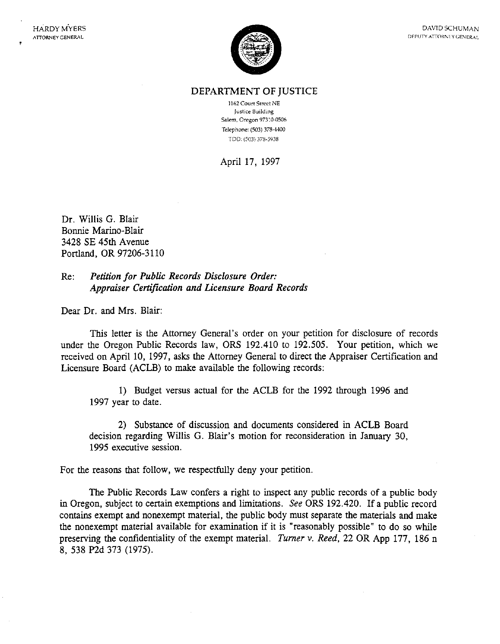 Willis G  Blair, April 17, 1997 - Oregon Attorney General Public